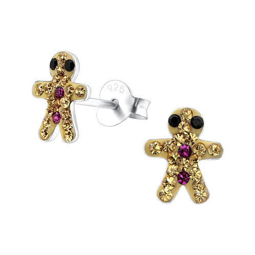 Crystal Gingerbread man  Ears Studs