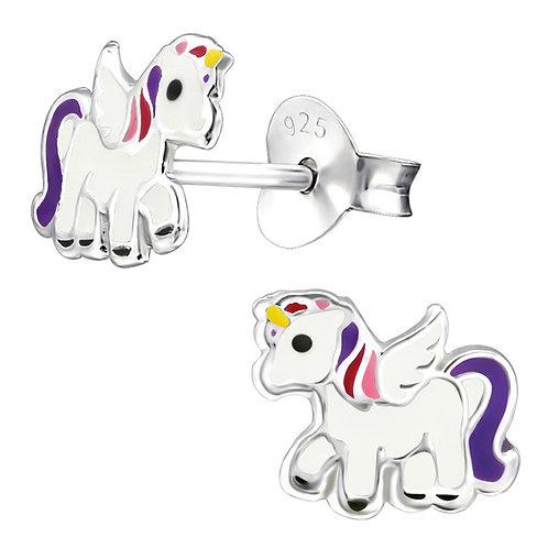 Purple Winged Unicorn Sterling Silver Ear Studs