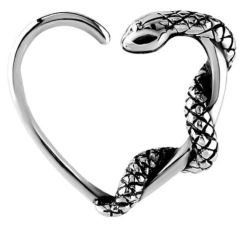 Snake Surgical Steel Steel Continuous Heart Ring  For Left ear