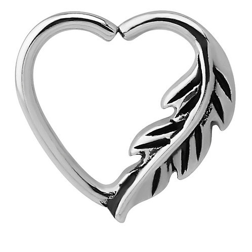 Feather Surgical Steel Continuous Heart Ring  For Left Ear