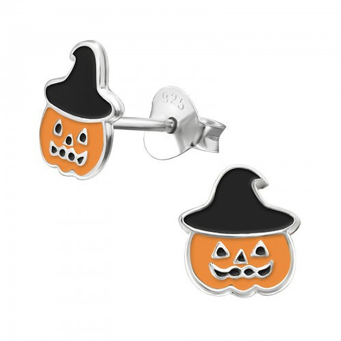 Pumpkin in Witches hats Sterling sliver ear studs