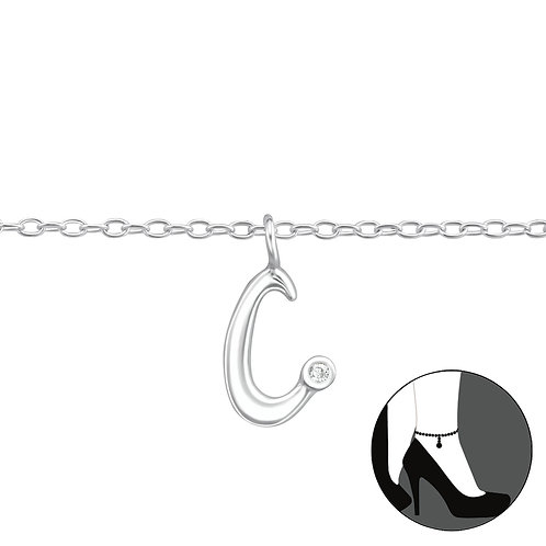 "Sterling Silver Anklet with ""c"" Charm"
