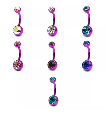 Purple  Belly Bars with Double Jewels