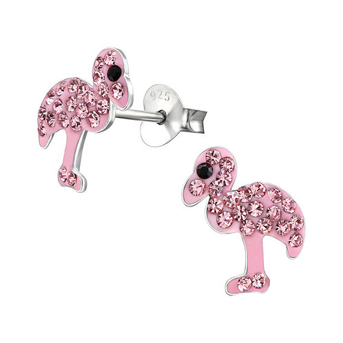 Sterling Silver Crystal Flamingo Ear Studs