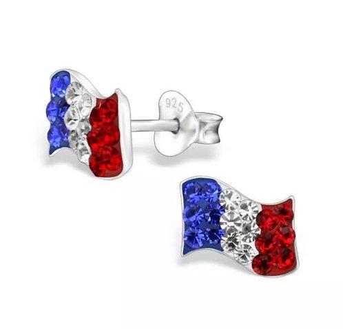 Crystal French Flag  Ear Studs