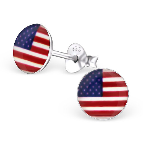 Rounded American Flag Ear Stud