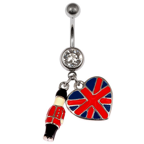 Palace Guardsman and heart shaped Union Jack  Belly Bar