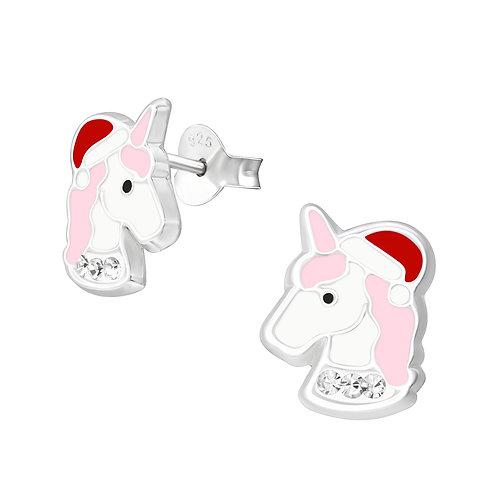 Sterling Silver Christmas Unicorn Ears Studs