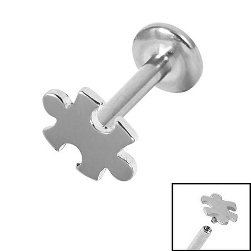 Steel Jigsaw piece  Titanium Internally Threaded  Labret 1.2