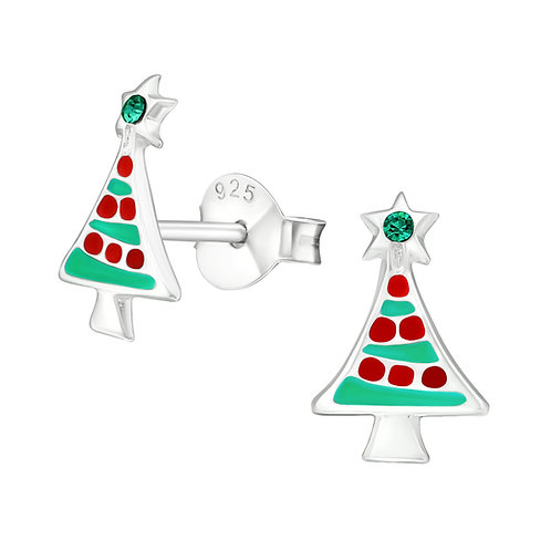 Sterling Silver Christmas Tree with Crystal Top Ears Studs
