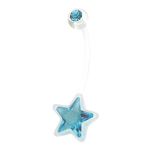 Clear PTFE Light Blue Star Pregnancy Belly Bar