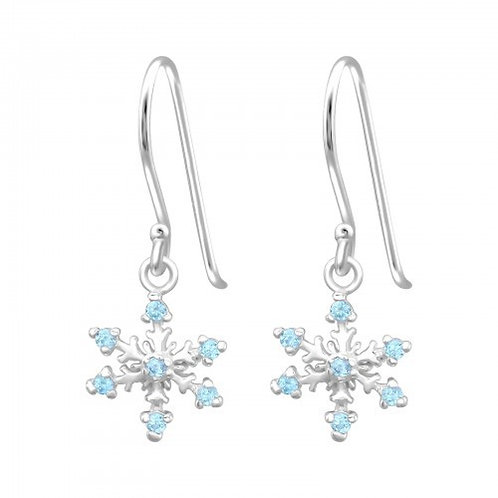 Aqua Snowflake Sterling SilverHook Earrings
