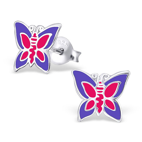 Sterling Silver Pink and Purple Butterfly  Ear Studs