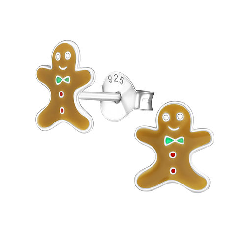 Sterling Silver Gingerbread men Ears Studs