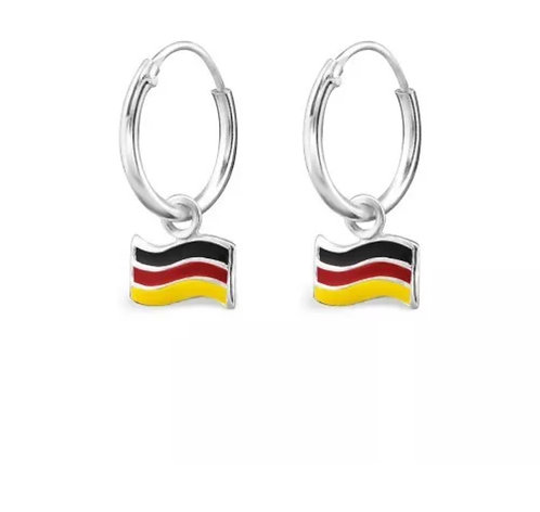 Sterling Sliver Hoops with German Flags