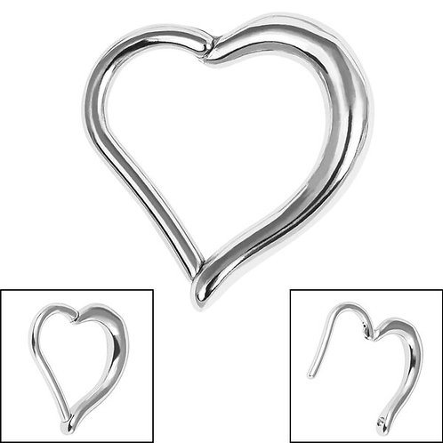 Heart Hinged Surgical steel   Clicker Ring
