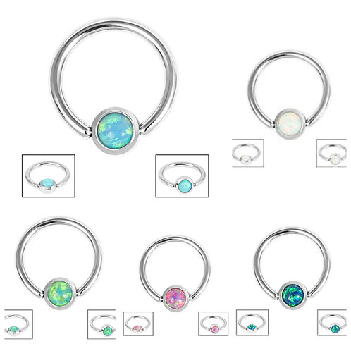 Steel BCR Steel Flat-backed Bezel Set Clip In Synthetic Opal Disk