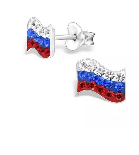 Crystal Russian  Flag  Ear Studs