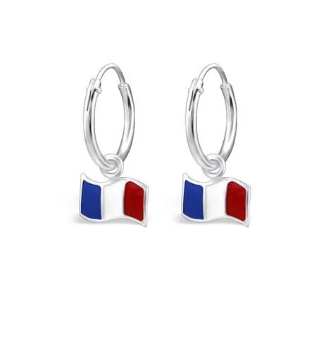 Sterling Sliver Hoops with French Flags