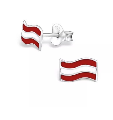 Colourful  Austrian Flag Sterling Sliver Ear Studs