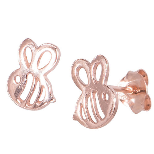 Rose Gold Plated Sterling Silver Bumble Bee Ear Studs