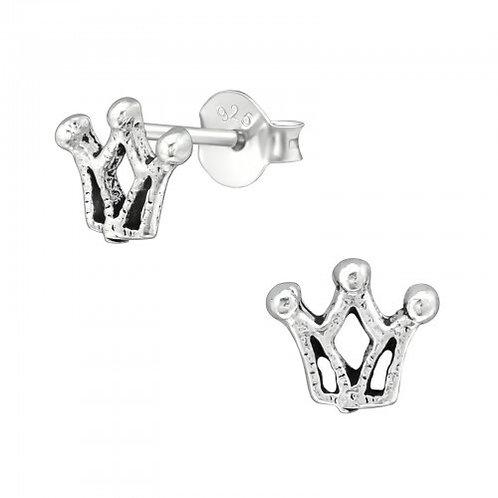 Crown Sterling Sliver Ear Studs