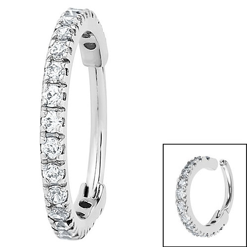 Surgical Steel 1.7mm Pave Set Jewelled Edged Clicker Ring