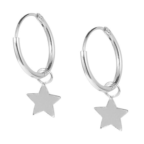 Sterling Silver Hoops with Stars