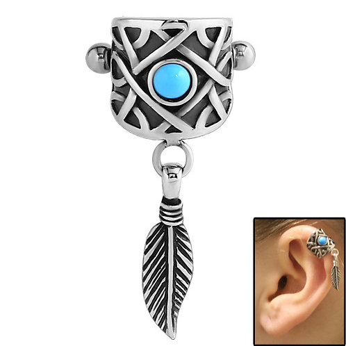 Surgical Steel  Feather Ear Shield