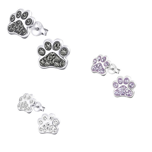 Jewelled Paw Print Ear Studs (Sterling Silver)