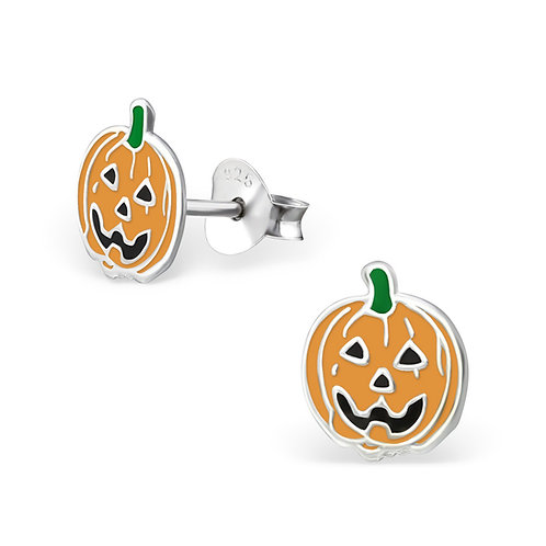Pumpkin with Green tops Sterling sliver ear studs