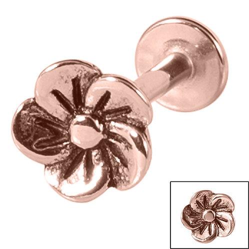 Rose Gold on Steel Flower Labret