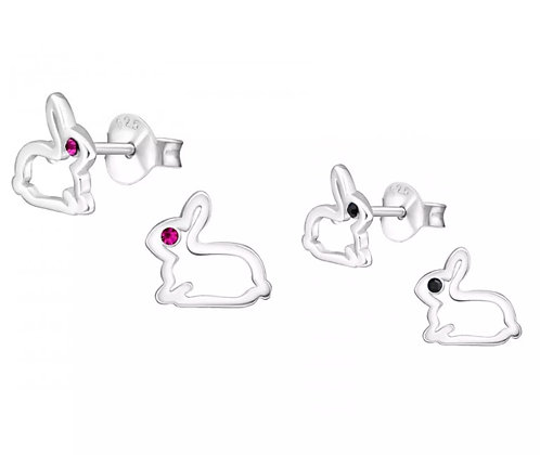 Sterling Sliver Rabbit with crystal eyes  ear studs
