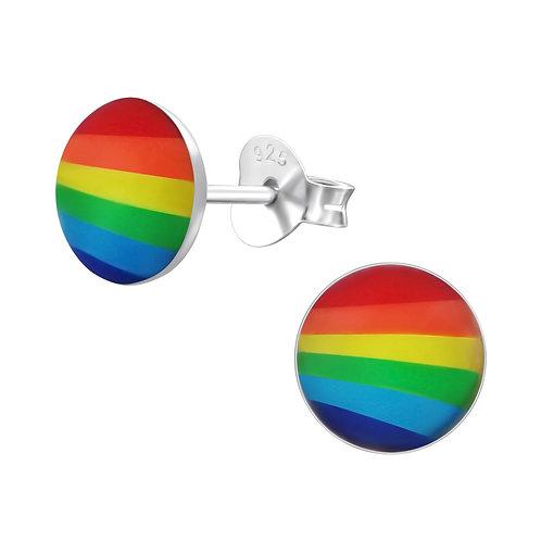 Rainbow Sterling Sliver Ear Studs