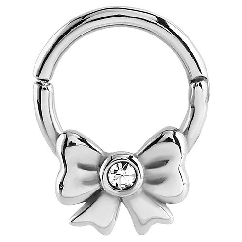 Surgical Jewelled Bow Hinged Segment Ring