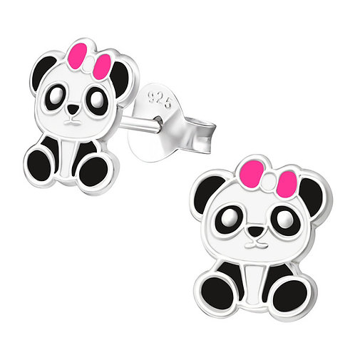 Pretty Panda Sterling Silver Ear Studs