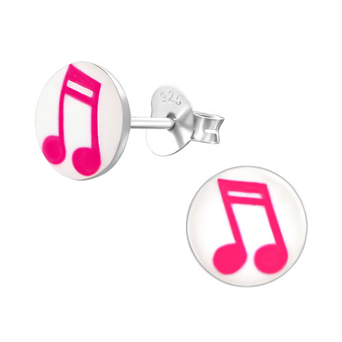 Pink Music Notes  Sterling Sliver Ear Studs