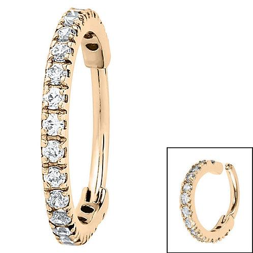 Zircon  Steel 1.7mm Pave Set Jewelled Edged Clicker Ring