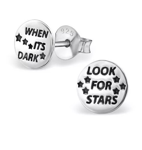 When its dark look for stars sterling sliver ear studs