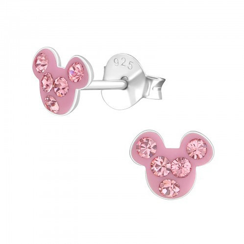 Light Rose Crystal Mouse  Ears Studs