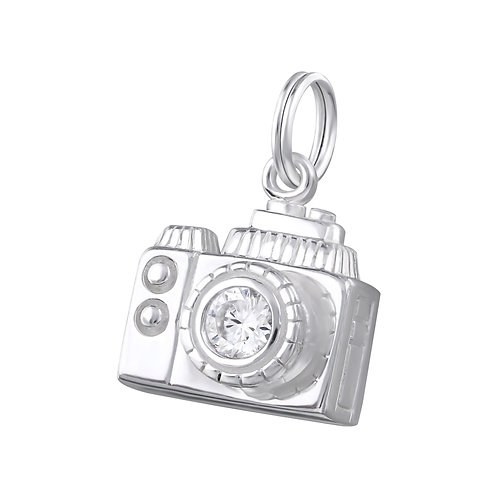 Camera with Jewelled Lens Sterling Silver Split Ring Charm