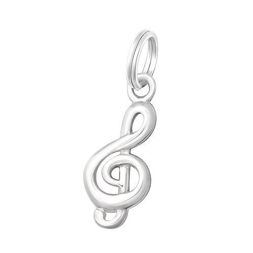 Treble Clef Sterling Silver Split Ring Charm