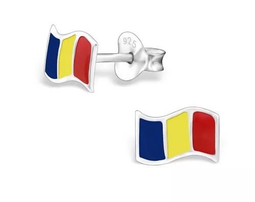 Colourful  Romanian  Flag Sterling Sliver Ear Studs