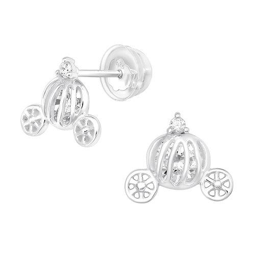 Pumpkin Carriage  Sterling Silver Ear Studs