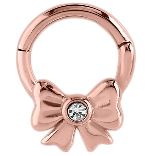 Rose on Steel Jewelled Bow Hinged Segment Ring