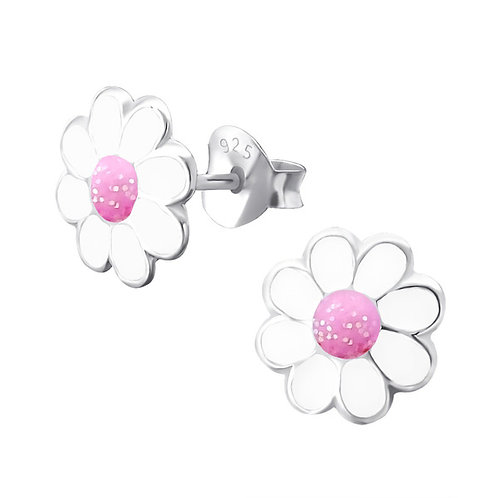 Sterling Silver Pink Glitter Daisies  Ear Studs