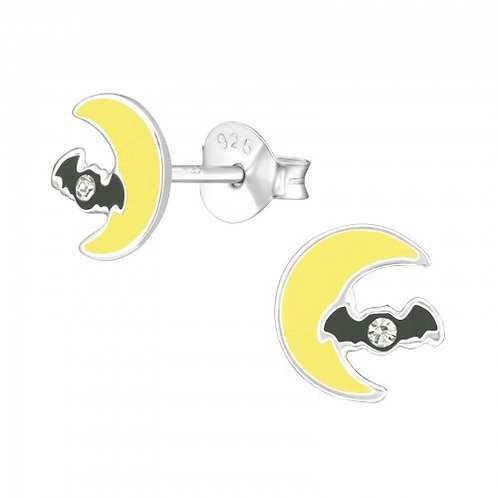 Moon and Bat Crystal Sterling Silver ear studs