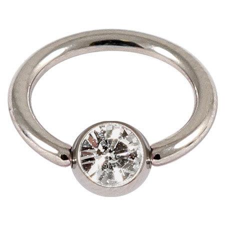 Titanium Jewelled Ball Closure Ring 1.0 Gauge