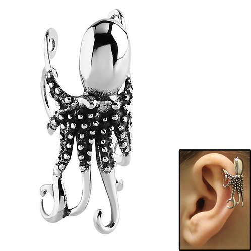 Octopus Surgical Steel Clip on Ear Cuff