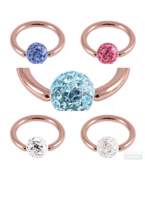 Rose Gold Steel Bcr With Glitzy Ball 1 6 Gauge